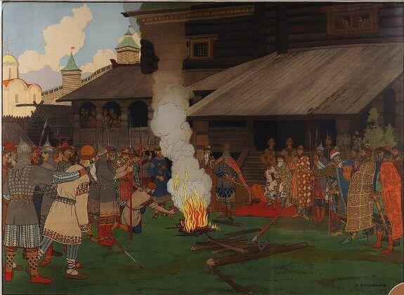 Худ. И. Билибин. «Суд во времена Русской Правды»