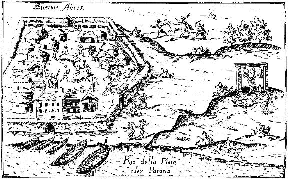 Буэнос-Айрес после основания в 1536 г. Рисунок
