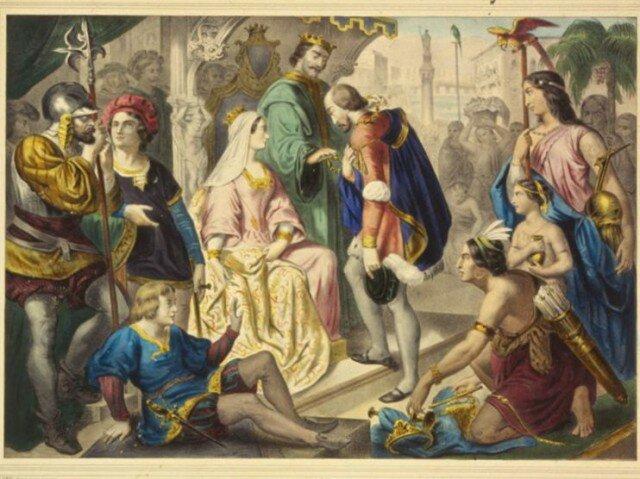 Возвращение Христофора Колумба. Колумб на приеме у короля Фердинанда и королевы Изабеллы по возвращении в Испанию. Гравюра из Библиотеки Конгресса