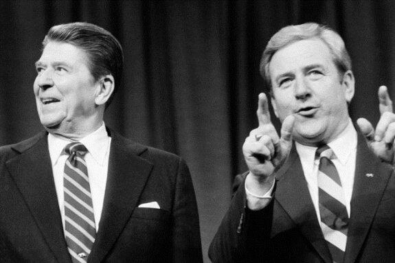 Джерри Фалуэлл (справа) и Рональд Рейган