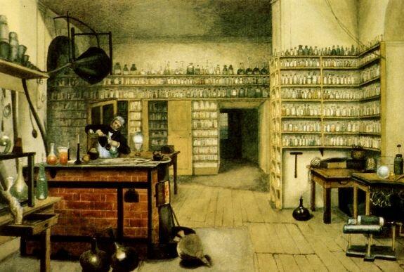 Акварель Г. Мур. Фарадей за опытами в лаборатории, 1850-е гг.