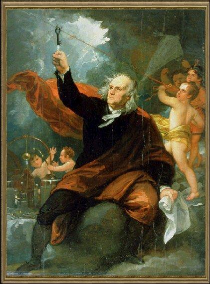 Худ. Б. Уэст. Бенджамин Франклин получает заряд электрического тока с небес, ок. 1816 г., Музей искусства, Филадельфия, США