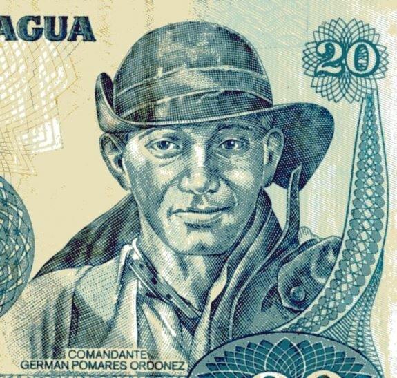Герман Помарес на национальной банкноте Никарагуа
