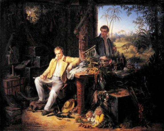 Гумбольдт и Бонплан в джунглях Амазонки. Худ. Э.Эндер, 1850 г., Бранденбургская Академия наук, Берлин, Германия