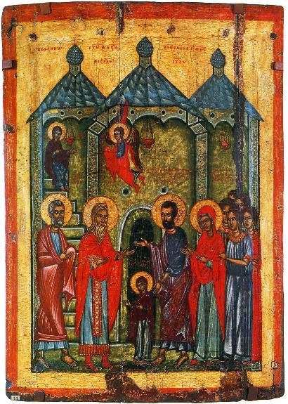 Икона «Введение Богородицы в храм» (нач. XIV в.) из села Кривое на Северной Двине (ГРМ)