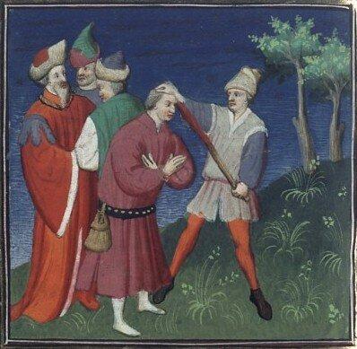 Исаака II Ангела ослепляют по приказу брата. Миниатюра XV в.