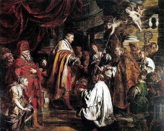 Иштван Святой принимает посланников папы римского, которые принесли корону. Худ. П. Верхаген
