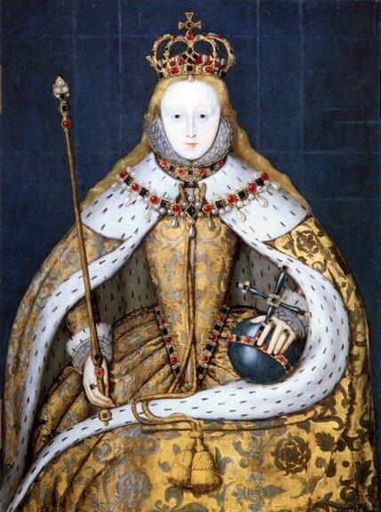 Елизавета I в коронационных одеждах, неизв. художник, ок. 1600 г. Национальная портретная галерея, Лондон, Великобритания