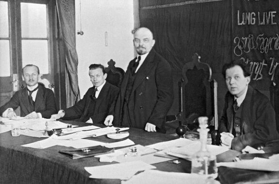 Ленин в президиуме Конгресса Коминтерна в Кремле. Фото: 1919 г.
