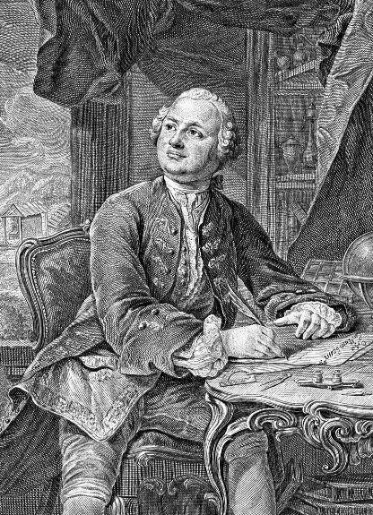 М. В. Ломоносов. Прижизненное изображение. Бумага, гравюра резцом. Э.Фессар и К.А.Вортман. 1757 г.