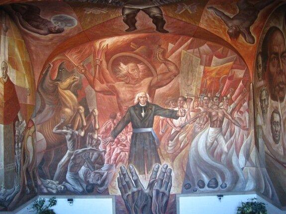 Фреска с изображением Мигеля Идальго-и-Костильи, Ороско, Дворец правительства, Гвадалахара, Мексика