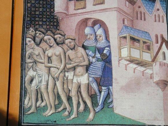 Жителей Каркассона изгоняют из города во время осады войсками Симона де Монфора