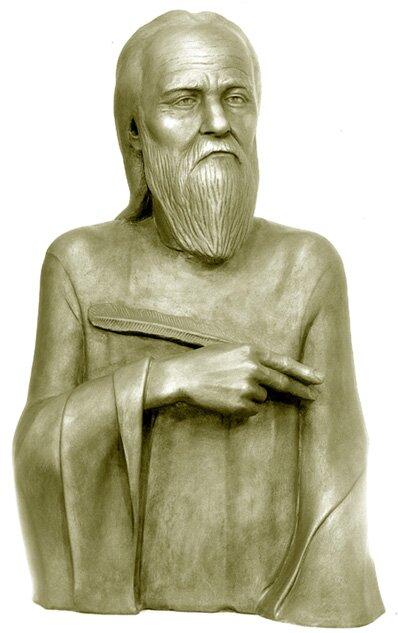 Нестор. Скульптурная реконструкция по черепу, автор С. А. Никитин, 1985 г.
