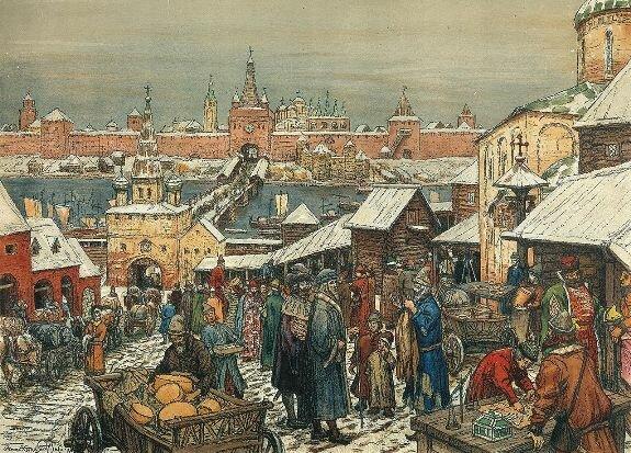 Худ. А. Васнецов. «Новгородский торг»