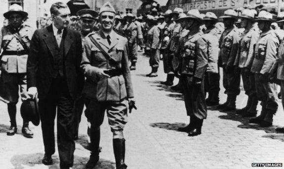 Антониу ди Салазар (слева). Фото: 1950 г.