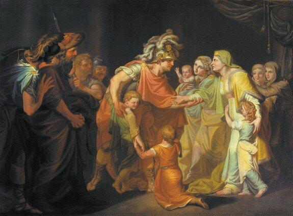 Великий князь Святослав, целующий мать и детей своих по возвращении с Дуная в Киев. Худ. И. А. Акимов