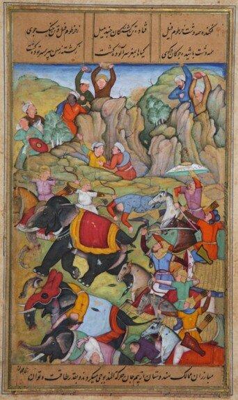 Тимур побеждает султана Дели Насир ад-Дина Махмуда. Миниатюра XVI в.