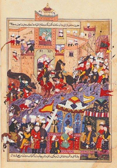 Тимур при осаде крепости Балх в 1370 г. Миниатюра XVI в.