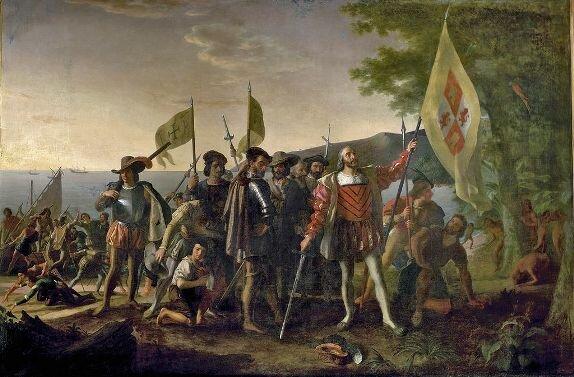 Худ. Д. Вандерлина. Высадка Христофора Колумба в Америке, 1847 г.