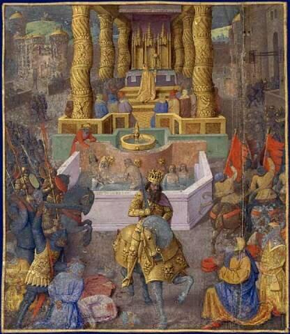 Вход Ирода в Иерусалим. Миниатюра Жана Фуке, XV век.