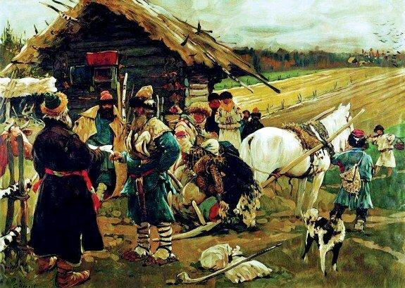 Худ. С. Иванов. «Отъезд крестьянина от помещика в Юрьев день»