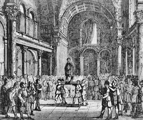 Солдаты провозглашают Юлиана Отступника Цезарем.