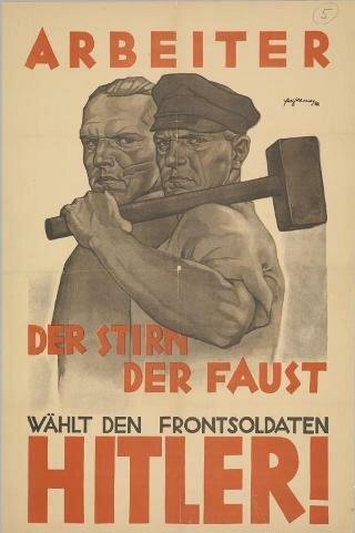 """Рабочий... лоб... кулак... выбирай фронтовика Гитлера!"""". Плакат 1932 г."""