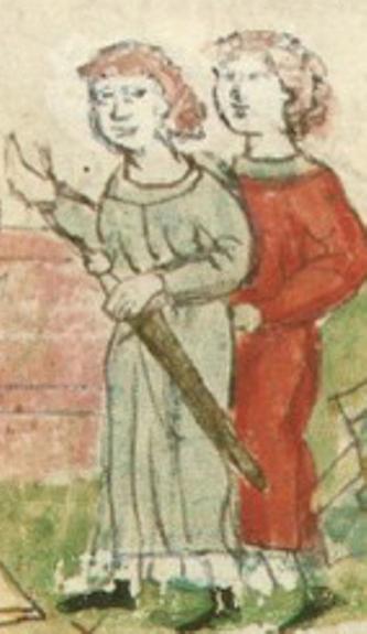 Аскольд и Дир. Иллюстрация из Радзивилловской летописи (список не уточняется, вероятнее всего Радзивилловский), XIII в.