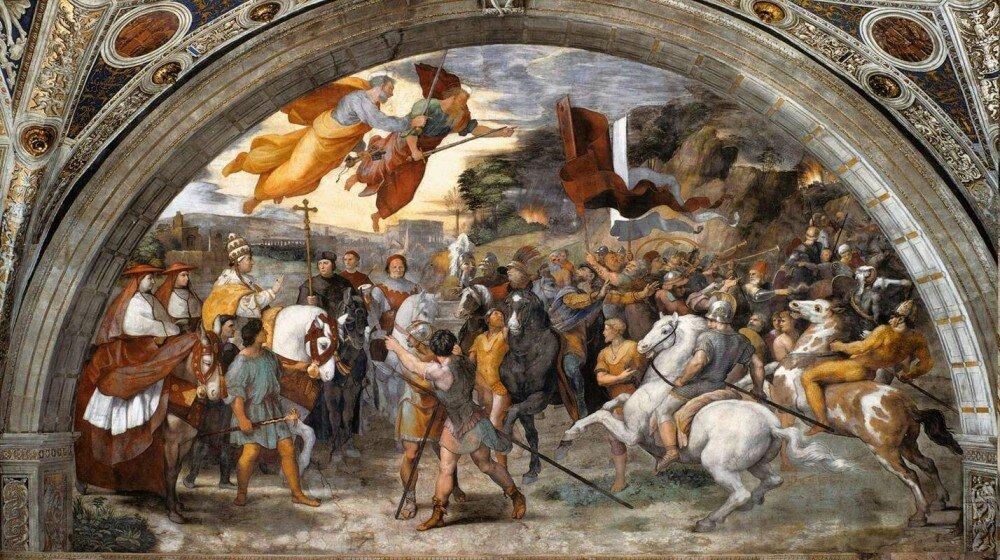 Встреча папы Льва с Аттилой Фреска Рафаэля. 1514 г. Ватикан