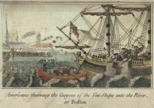 """Бостонское чаепитие. Гравюра У. Д. Купера из книги """"История Северной Америки"""", Лондон, 1789 г. Библиотека Конгресса"""