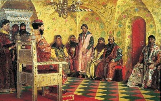 Сидение царя Михаила Фёдоровича с боярами в его государевой комнате, худ. А. Рябушкин, 1893 г., Государственная Третьяковская галерея, Москва