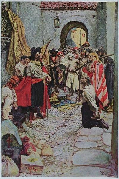 Буканьеры грабят жителей, захваченного ими города. Иллюстрация