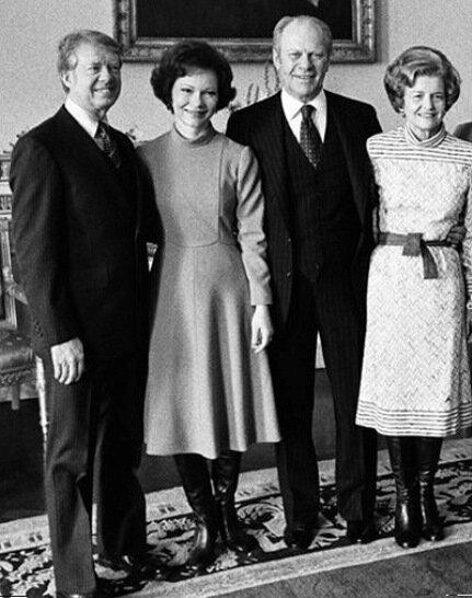 Джимми и Розалин Картер (слева), 21 января 1977 г. В ходе президентской инаугурации