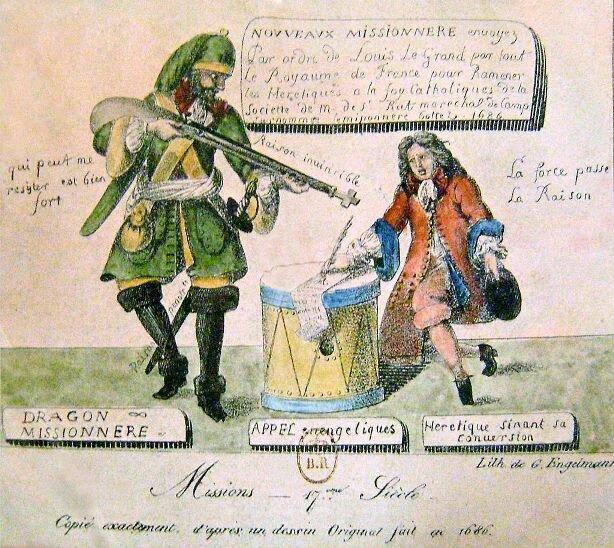 Драгонады. Карикатура 1686.