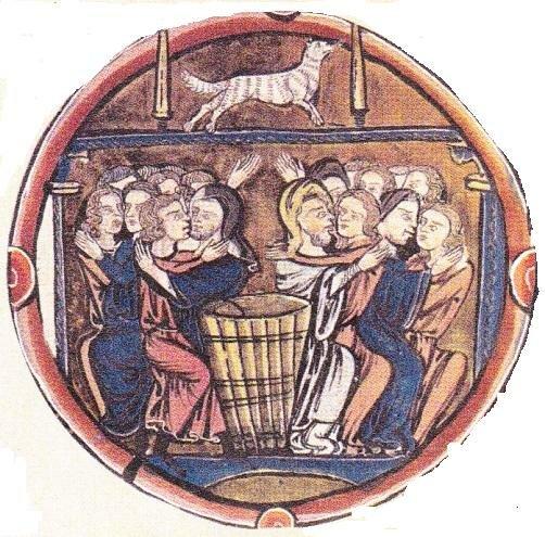 Еретики пытаются привлечь к себе верующих. Миниатюра из Bible moralisée XIII в.