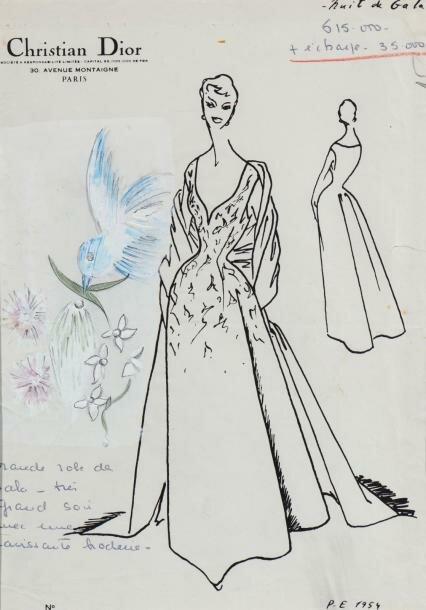 Рисунок гуашью Кристиана Диор для собственного дома моды для коллекции весна-лето 1954 г.