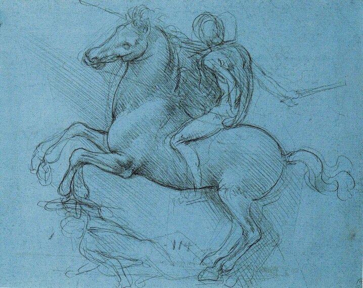 Этюд к конной статуе Сфорцы ок. 1488-1489 гг. Виндзорский замок, Виндзор, Великобритания