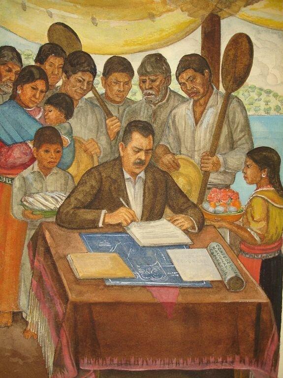 Фреска в Хикильпан-де-Хуарес, штат Мичоакан в Мексике, на которой изображен президент Ласаро Карденас в окружении крестьян. 1938 г.