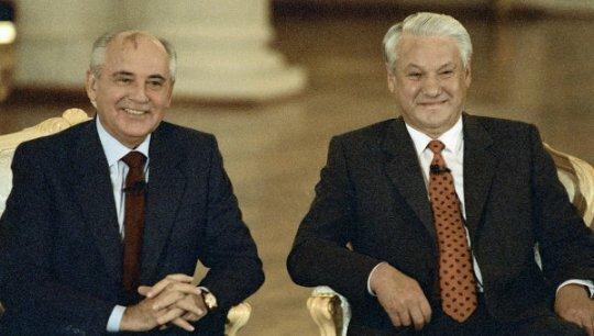 М. Горбачев и Б. Ельцин