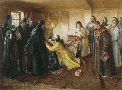Царь Иван Грозный просит игумена Корнилия благословить его в монахи. худ. К. Лебедев
