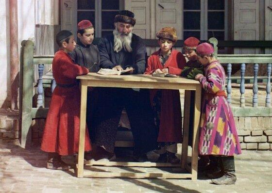 группа еврейских детей с учителем