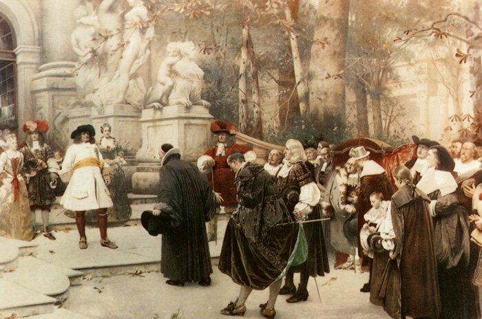 Великий Курфюрст Фридрих фон Бранденбург принимает делегацию беженцев-гугенотов в своем замке в Потсдаме. Худ. Х. Вогель, 1885, Национальная галерея, Прага, Чехия
