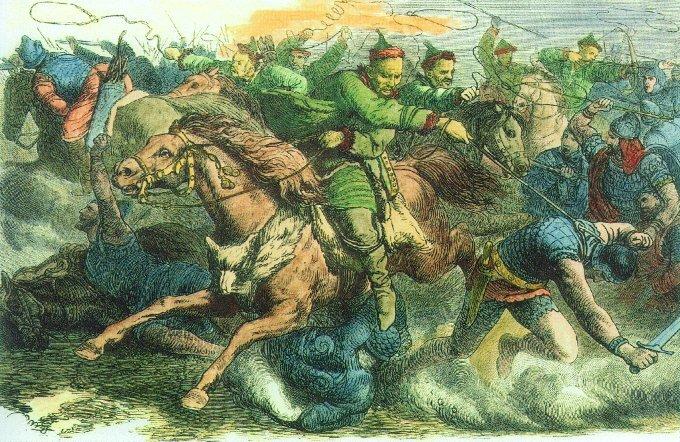 П. Гайге. «Гунны сражаются с аланами» Гравюра с рисунка. 1870 г.