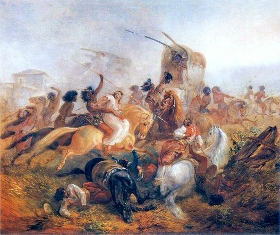 Индейцы атакуют аргентинских солдат. Худ. Й. Ругендас