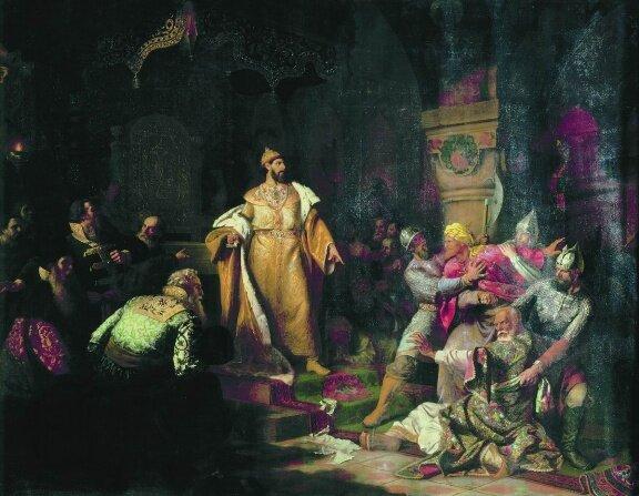 Худ. Шустов Н. С.  Иван III разрывает ханскую грамоту, 1862 г.