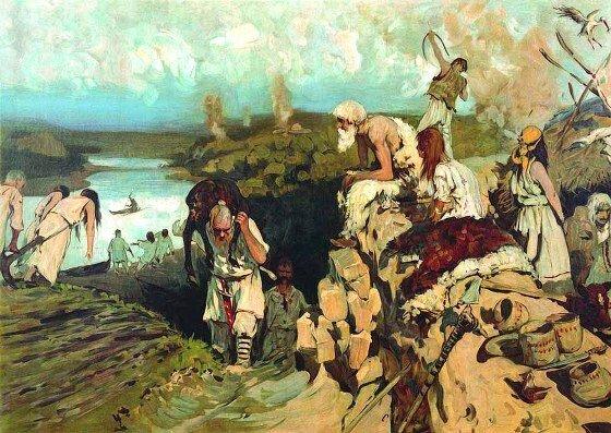Житие восточных славян. Худ. С. В. Иванов, 1909 г. Местонахождение неизвестно