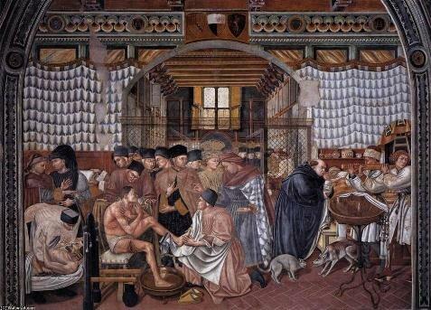 Врачи принимающие пациентов в больнице. Фреска Таддео ди Бартоло. XIV в. Сиеннская больница