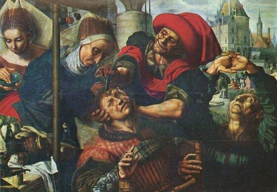 Ян ван Хемессен. Извлечение камней глупости. 1545—1550. Музей Прадо. Мадрид