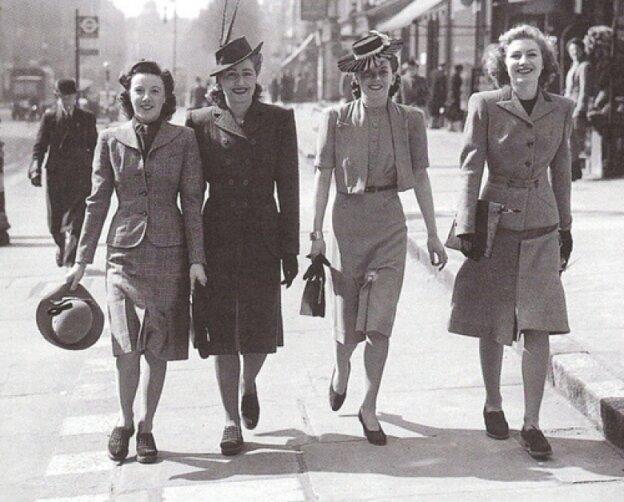 Послевоенная женская одежда. Фото 40-х гг.