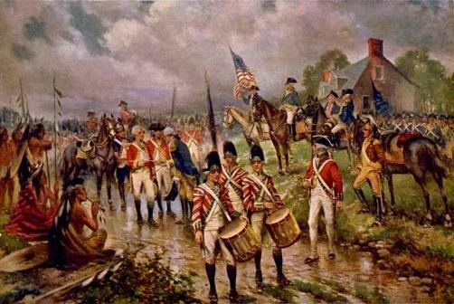 Капитуляция генерала Бэргойна под Саратогой. 17 октября 1777. Фотолитография П. Морана. 1911. Библиотека Конгресса